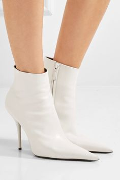 Balenciaga - Leather Ankle Boots - White - IT38.5