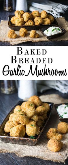 Baked Breaded Garlic Mushrooms - Erren's Kitchen - Serve up a restaurant-style appetizer at home with this guilt free, low fat recipe.