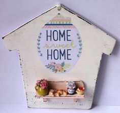 ♡ ♡  Shabby chic home sweet home white and por ManthaCreaMiniatures