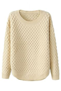 ROMWE | Romwe Arc Hem Rhombus Pattern Cream Jumper, The Latest Street Fashion
