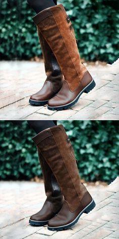 e813e4906b3d Women Non-slip Outdoor Boots Waterproof Low Heel Paneled Boots