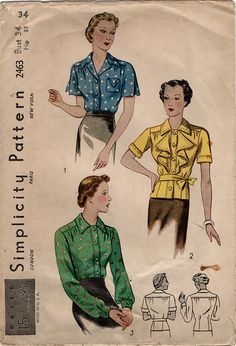 vintage pattern to make a set of blouses with convertible neckline and optional jabot. Condition This is an original vintage sewing pattern from the The unprinted pattern pieces range fro Vintage Dress Patterns, Blouse Vintage, Blouse Patterns, Clothing Patterns, Retro Fashion, Vintage Fashion, 1930s Fashion, Patron Vintage, Vintage Outfits
