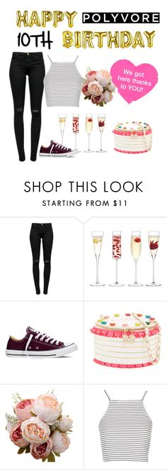 """""""Happy 10th Birthday Polyvore!"""" by polyvore ❤ liked on Polyvore featuring J Brand, LSA International, Converse, Betsey Johnson, Topshop and living room"""
