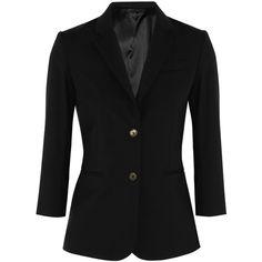 The Row Schoolboy stretch-wool blazer ($1,325) ❤ liked on Polyvore featuring outerwear, jackets, blazers, blazers/jackets, black, slim fit blazer, slim jacket, shiny jacket, black blazer и tailored blazer