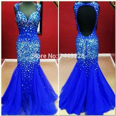 Sweetheart Royal Blue Sparkly Rhinestone Mermaid Prom Dress Tulle Sexy Backless Long Fitted Formal Evening Gown vestido sereia(China (Mainland))