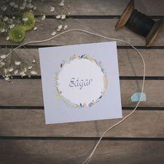 Faire-Part naissance, fleurs bohème, dessin