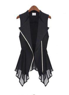 Casual chaqueta delgada sin mangas de gasa largo Chaleco 0d4da62a2d87