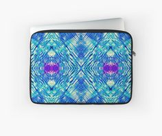 The Fractures Beneath Laptop Sleeve by PolkaDotStudio #Bohemian #Indonesian influenced #tie #dye #geometric #blue #aqua #art on #fashion #tech #cases for #decorative #protection at #school, the #office #travel or #client #visits. Perfect #unique #gift.