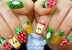 Colorful fruit nails
