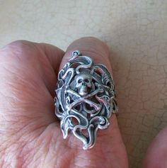Large Silver Plated Gothic Ring with Skull and by EnchantedLockets, $24.00