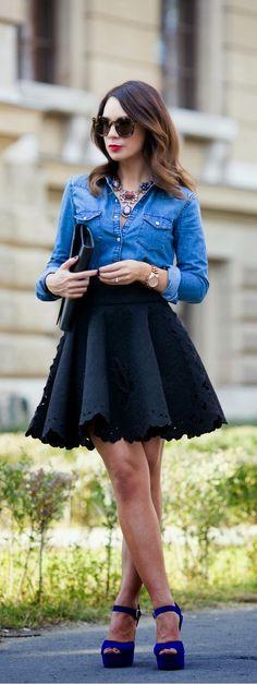 Chambaray Shirt Embroidered Skirt / Best LoLus Street Fashion