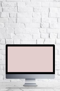 Desktop computer with screen mockup on a white marble table illustration Hanging Picture Frames, Wooden Picture Frames, Instagram Frame Template, Web Design, Textured Wallpaper, Desktop Computers, Mockup, White Marble, Brick Wall Background