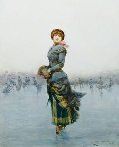 Lady Skating on Ice (1882) by Ludovico Marchetti