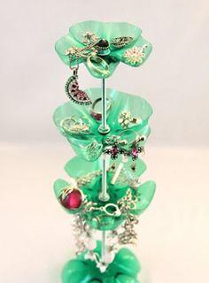 DIY Jewelry Stand Of Repurposed Plastic Bottles