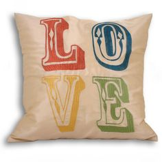 Cushions : LOVE Cushion Covers Carnival Style Typography