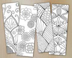 Zentangle Digital Bookmarks / Lesezeichen FLOWERS Vol.2/  zum downloaden / Coloring and relaxing/ PDF und JPG