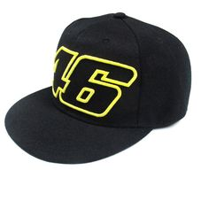 This Official Valentino Rossi 46 Flat Peak Cap in Black is part of the official Valentino Rossi merchandise range. New version of a great success. Extremely fancy cap in cotton. The famous Moto GP 46 logo is featured on the front along with rossi's VR46 logo on the back. With a flat peak. This cap an essential item for any Rossi fan! This cap has an adjustable strap.