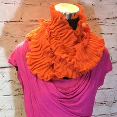 PRETTY ORANGE ACCORDION STYLE SCARF Gently used lightweight scarf in a vibrant orange Accessories Scarves & Wraps