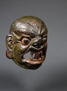KRODHA MASK: Monpa people Arunachal Pradesh (India) Wood, metal repairs & polychrome Circa 18th century. Indian Heritage Gallery, Paris, Frederic Rond