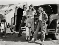 "Feb. 1936. ""Drought refugees in California."" Dust Bowl migrants photographed by Dorothea Lange for the Farm Security Administration."