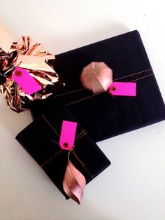 Let's wrap those presents in black and copper and with a little neon.  #prettypackaging #gifts #christmas #xmas