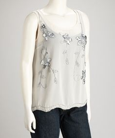 Take a look at this Taupe Sequin-Embellishment Top - Plus by Kristin Miles on #zulily today!