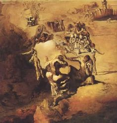 Salvador Dali (Spanish), The Great Paranoiac / Le grand paranoïaque, 1936. Automatism is known as the passive phase of Surrealism, whereas paranoia-criticism, or paranoiac-critical, is known as the active method. With the active method, Dali achieves the symptoms of paranoia through simulation of various mental diseases and then utilizes this altered state of mind to create his unconscious images (Gordon, 235).