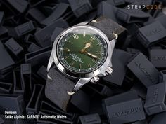 Seiko Alpinist SARB017 not a bad way with a #MiLTAT dark grey nubuck leather strap #strapcode #iwantstrapcode