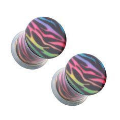 Rainbow Zebra Single Flared Ear Plugs