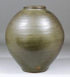 """Bernard Leach _ Stoneware vase _ olive green glaze _ h. 9"""" _ impressed seal marks, BL. St. Ives"""