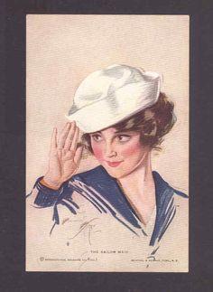 "harrison fisher ""the sailor maid"" w w 1 patriotic,military,old postcard Vintage Prints, Vintage Art, Vintage Ladies, Vintage Sailor, Vintage Clip, Vintage Pictures, Vintage Images, Patriotic Images, Creation Art"