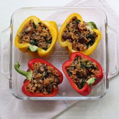 Vegan Stuffed Peppers Recipe Main Dishes with olive oil, crimini mushrooms, green onions, baby greens, cooked rice, tamari soy sauce, chile sauce, yellow bell pepper, toasted sesame seeds