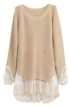 ROMWE | Panel Lace Cream Jumper, The Latest Street Fashion -- I think I can make my own version of this beautiful jumper.