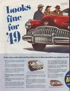 "Description: 1948 BUICK vintage print advertisement ""model year 1949"" -- Looks fine for '49 ... A Whole Bonnetful of Fireball Power! No clutch pedal! It's got Dynaflow Drive! Roadmaster or Super chassis. When better automobiles are built Buick will build them. -- Size: The dimensions of the centerfold advertisement are approximately 21 inches x 13.5 inches (53.25 cm x 34.25 cm). Condition: This original vintage centerfold advertisement is in Excellent Condition unless otherwise noted ()."