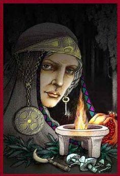 La Diosa Anciana (triada Griega) : HECATE    Hécate, la antigua entre las antiguas, Diosa madre por excelencia de brujas y hechiceras, en Grecia es la diosa anciana dentro de la triada lunar, (Demeter/Madre Persefone/Doncella Hecate/Anciana).     La leyenda cuenta dice que estaba junto a Démeter cuando Persefone fue raptada por el dios Hades, Hécate la acompaña al inframundo e intercede por ella.    Se cree que su culto pudo haberse iniciado en Egipto y se le relacion