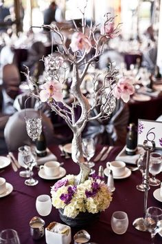Wedding decorations | Table decor centerpiece idea. Love the tree. Would also work great as a guest bokk tree