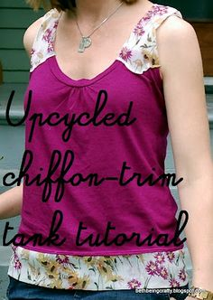 Women's Chiffon-Trim Tank (upcycled)