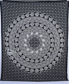 Elephant Hippie Tapestry Mandala Hippie Bedspread Throw by Sparshh