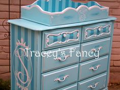 Vintage Painted Shabby French Provincial Dresser with Changing Table Addition - MADE TO ORDER. $720.00, via Etsy.