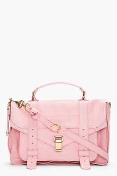 Pink satchel with gold hardware.