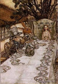 Arthur Rackham - Alice in wonderland a mad tea party - Oil painting reproduction