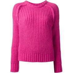 Cedric Charlier thick knit sweater (268 CAD) ❤ liked on Polyvore featuring tops, sweaters, fuschia top, long sleeve tops, pink top, pink long sleeve top and fuschia pink tops