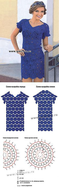 Summer blue dress of the round motifs. Hook
