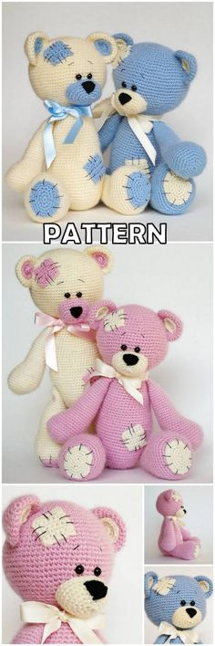 In this article amigurumi doll free crochet patterns and amigurumi knitting toy images are waiting for you. Everything you're looking for in Amigurumi. Crochet Animal Amigurumi, Crochet Teddy, Crochet Animal Patterns, Crochet Bear, Stuffed Animal Patterns, Amigurumi Patterns, Crochet Animals, Crochet Motif, Crochet Dolls
