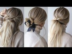Today's hair tutorial is easy fall hairstyles that are on trend for fall. I thought it would be fun to incorporate ribbon into a simple bun. As for the half up hairstyle, it's textured, and effortless. I knew I couldn't create an easy hairstyles video without including my favourite hairstyle, the textured pony-tail.