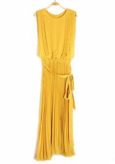 Yellow Irregular Belt Zipper Sleeveless Chiffon Dress
