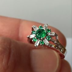 1.50ct Round AAA Natural Colombian Emerald Diamond Ring 18K White Gold