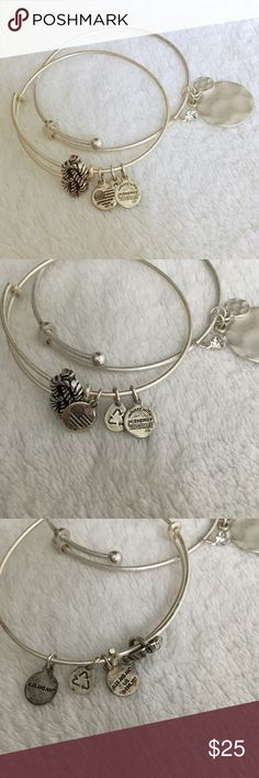 alex & ani + bonus bracelet Alex and Ani silver nautical rope bracelet, plus a bonus (not Alex and Ani) bracelet in a similar matching style. Minor signs of wear on charms, as shown in pictures. Adjustable sizing. / Alex and ani, bracelet, charm, silver, rhinestone, nautical, rope, infinity / Alex & Ani Jewelry Bracelets
