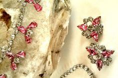 Pink and Clear Rhinestone 1950s Choker by lindafrenchgallery #rhinestone #jewelryset