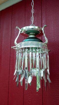 Silverware Chandelier Pendant Hanging Light by LitforaQueen
